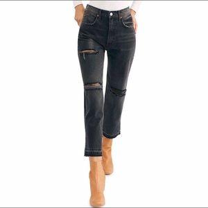 Free people black Lita Crop Straight Leg Jeans
